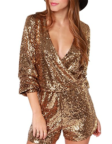 hodoyi V-neck Sequin Romper