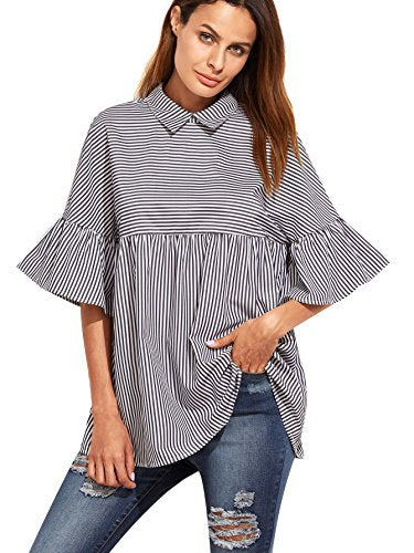 SheIn Oversized Striped Ruffle Half Sleeve Collared Blouse