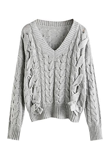MakeMeChic V Neck Lace Up Cable Knit Sweater