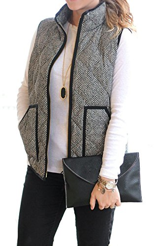MEROKEETY  Herringbone Puffer Vest with Zipper