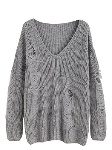 MakeMeChic V-Neck Ripped Pullover Sweater