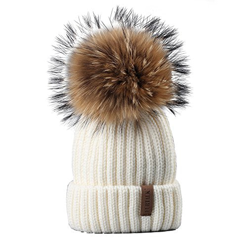 FURTALK Fur Pom Pom Knit Beanie Hat