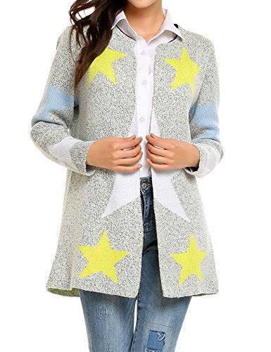 Soteer Star Print Open Front Knitted Cardigan