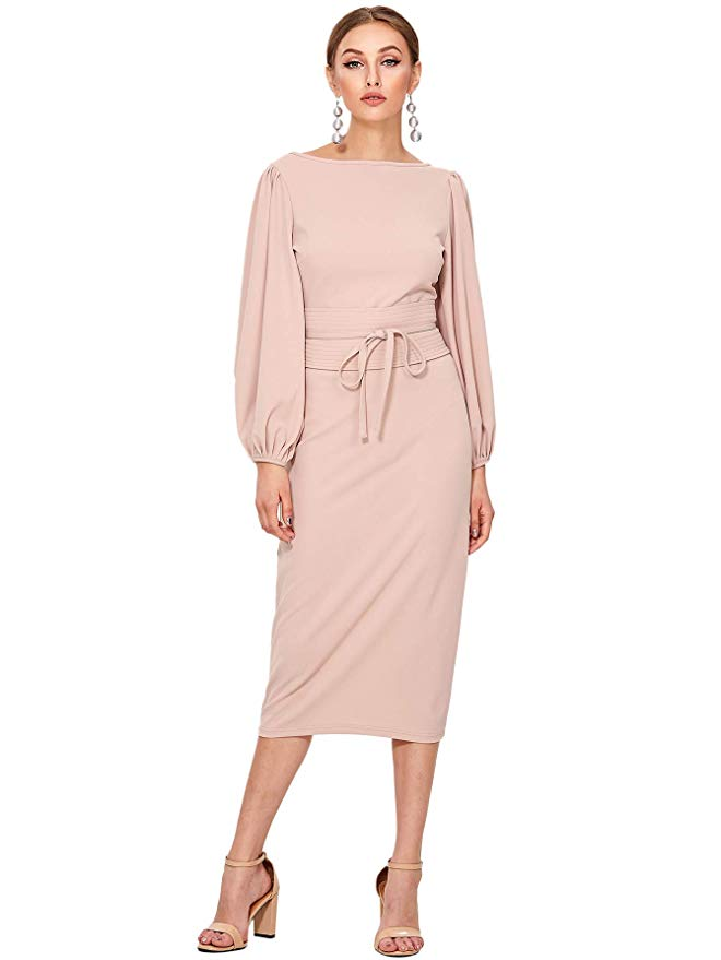 Floerns Lantern Sleeve Tie Waist Midi Dress