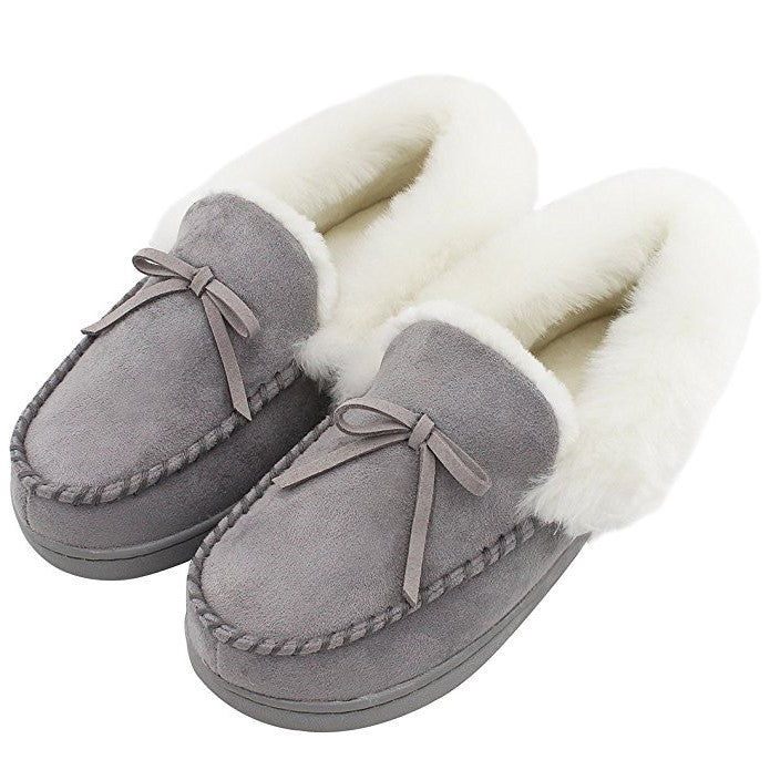 HomeIdeas Faux Fur Lined Suede Slippers