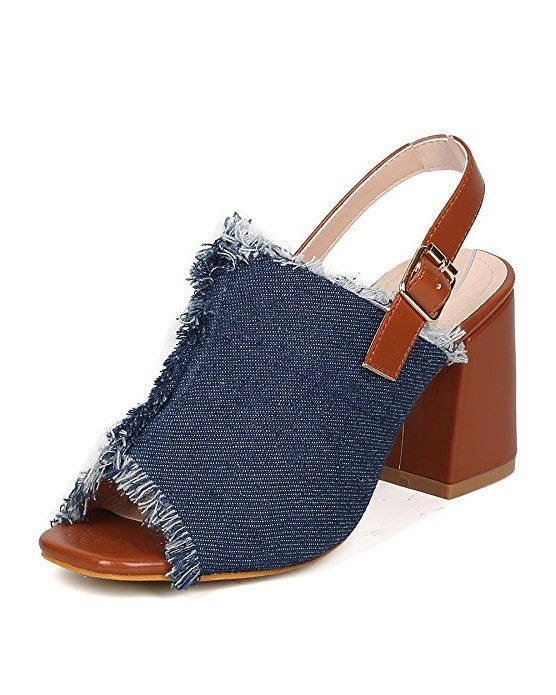 Denim Frayed Slingback Mule