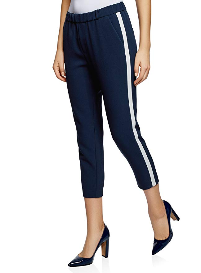 oodji Ultra Trousers with Elastic Waistband and Side Stripes