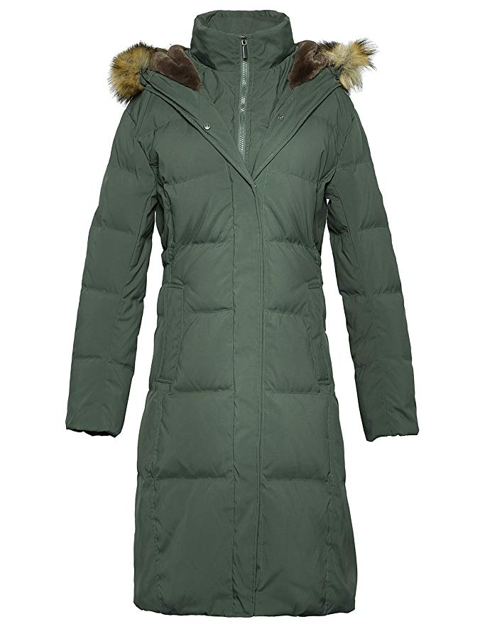 ADOMI Long Hooded Thickened Down Coat with Fur Trim