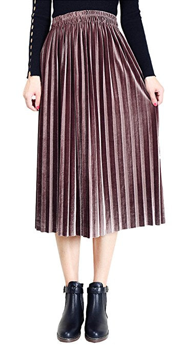 Chartou Velvet Accordion Pleated Skirt