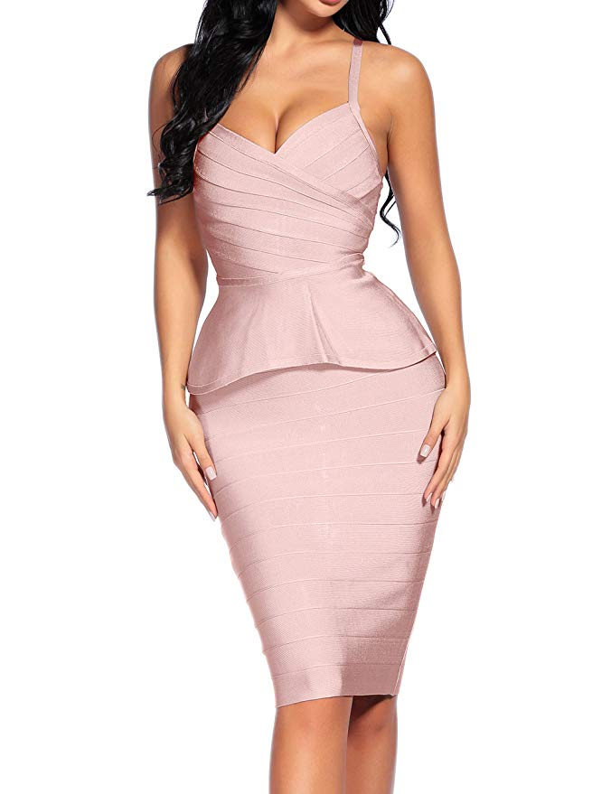 Bandage Dress Spaghetti Strap 2 Pieces Set Dress
