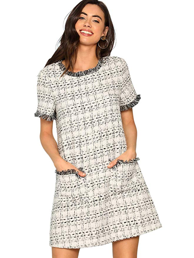Floerns Tweed Tunic Dress with Pockets