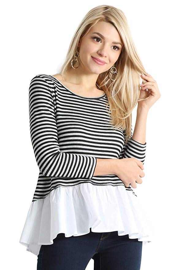 Striped  Peplum Shirt