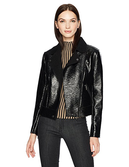 Kenneth Cole Patent Leather Moto Jacket