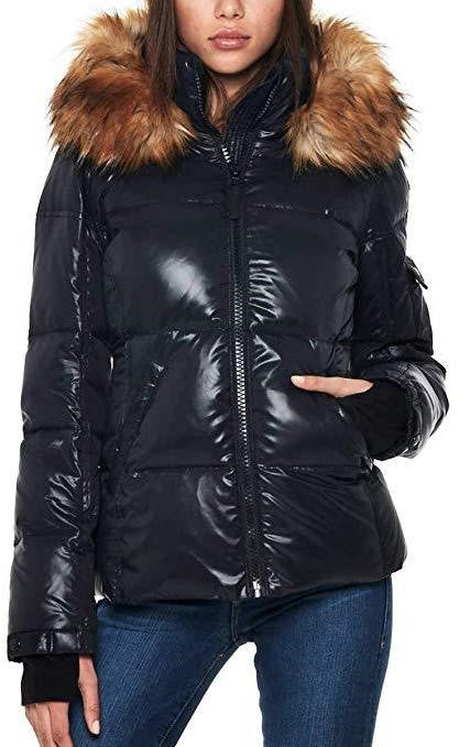 S13 Kelly Hip Length Down Puffer Faux Fur Hood