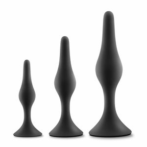 Luxe Beginner Butt Plug Kit Black - Silicone Anal Trainer Set