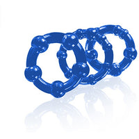3 Pack Stay Hard Beaded Cock Ring Blue