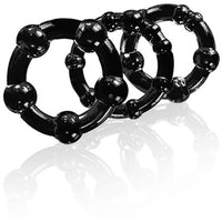3 Pack Stay Hard Beaded Cock Ring Black