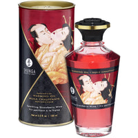 Shunga Aphrodisiac Warming Oil 3.5oz - Sparkling Strawberry Wine