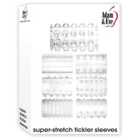 Adam and Eve Super-Stretch Cock Ring Sleeves 7 Pack - Clear