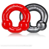 Oxballs Ultraballs 2-Piece Cockring Set - Grey & Red