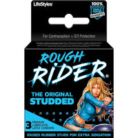 Rough Rider Studded Lubricated Condoms - 3 Pack