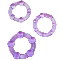 3 Pack Stay Hard Beaded Cock Ring Purple