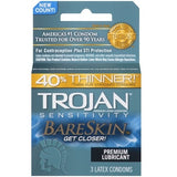 Trojan Sensitivity Bareskin Lubricated Condoms - 3 Pack TJ95705