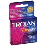 Trojan Pleasures Fire and Ice Dual Action Lubricated Condoms - 3 Pack TJ96003