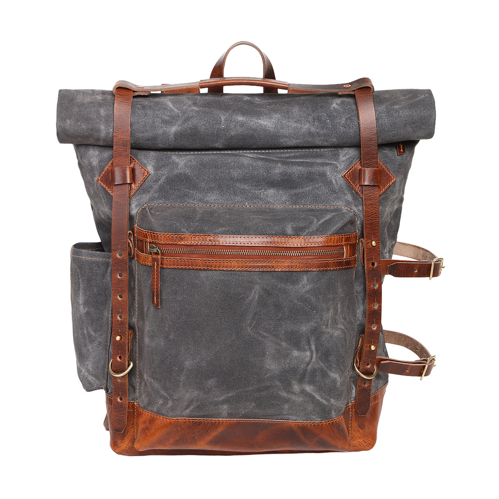 wax canvas backpack, roll top backpack, canvas backpack, man leather backpack, leather bag, hike bag, adventure backpack, canvas backpack man, laptop bag United States