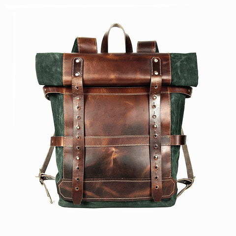 roll top leather canvas backpack, wax canvas backpack, roll top backpack, canvas backpack, man leather backpack, leather bag, hike bag, adventure backpack, canvas backpack man United States