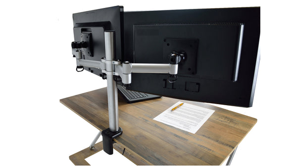 Attollo Desk accessories; single and dual monitor mounts and standing anti-fatigue mat