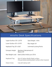 Attollo Reclaimed Wood Electric Height Adjustable Standing Desk Dimensions