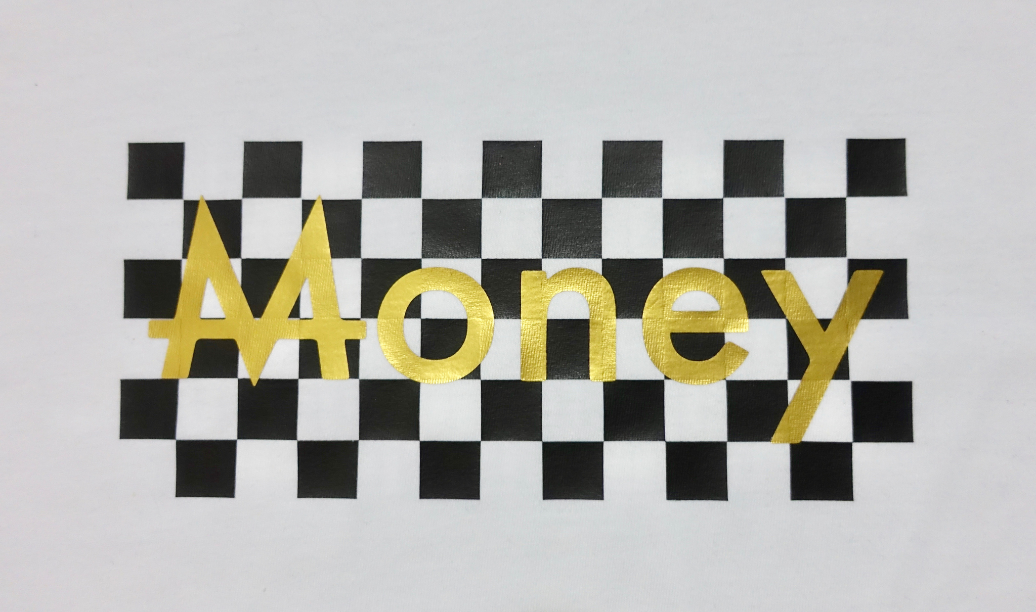 Checkered Money Tee | White | Blackout - Money by Mark, Shirt
