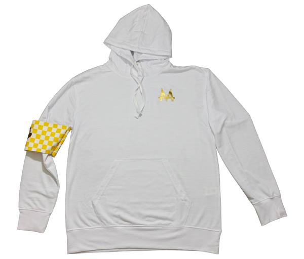 Checkered Armband Hoodie | White | Lemon - Money by Mark,