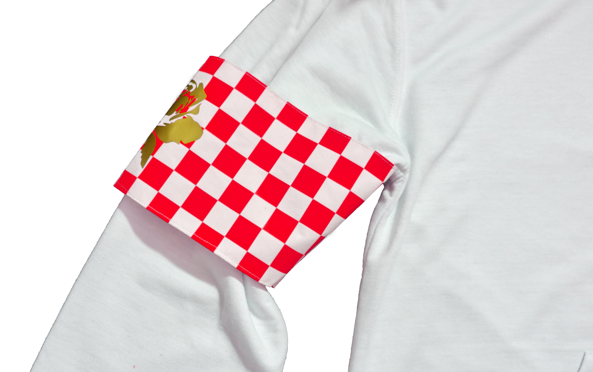 Checkered Armband Hoodie | White | Racing Red - Money by Mark,