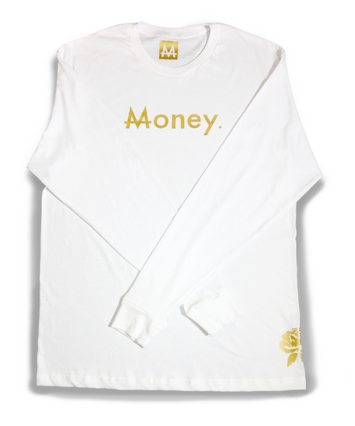 Long sleeve Money | White | 24k Gold