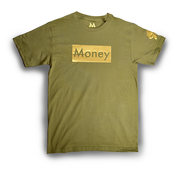 Money Tee | Olive Green | 24k Gold