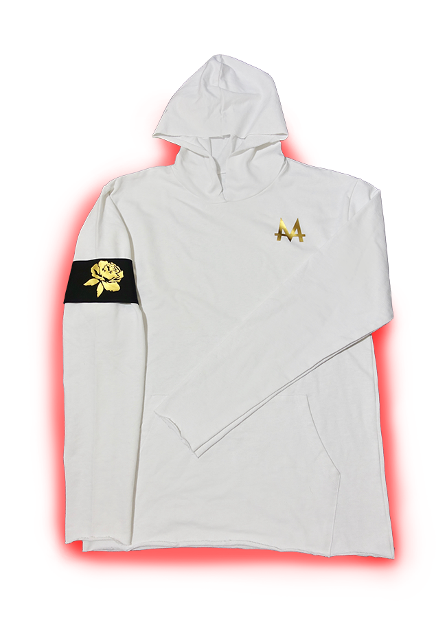 V.I.P. Money Hoodie | White | Black Armband | 24k Gold | Red Label Collection - Money by Mark, Hoodie