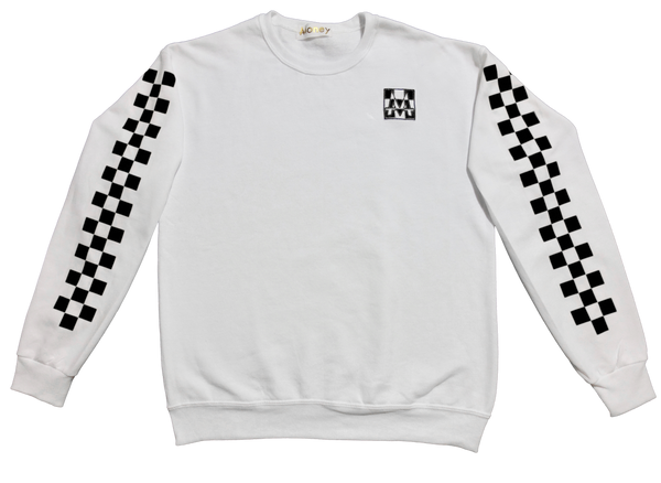 Checkerboard Crewneck | White | Blackout - Money by Mark, Sweater