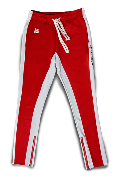 Money Drawstring Pants | Red | White Stripe | 24k Gold - Money by Mark, Athletic Apparel
