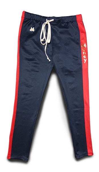 Money Drawstring Pants | Navy | Red | 24k Gold