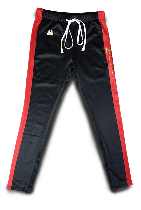 Money Drawstring Pants | Black | Red | 24k Gold - Money by Mark, Athletic Apparel