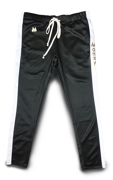 Money Drawstring Pants | Black | White Stripe | 24k Gold
