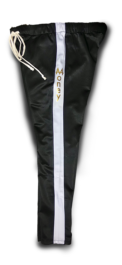 Money Drawstring Pants | Black | White Stripe | 24k Gold - Money by Mark, Athletic Apparel