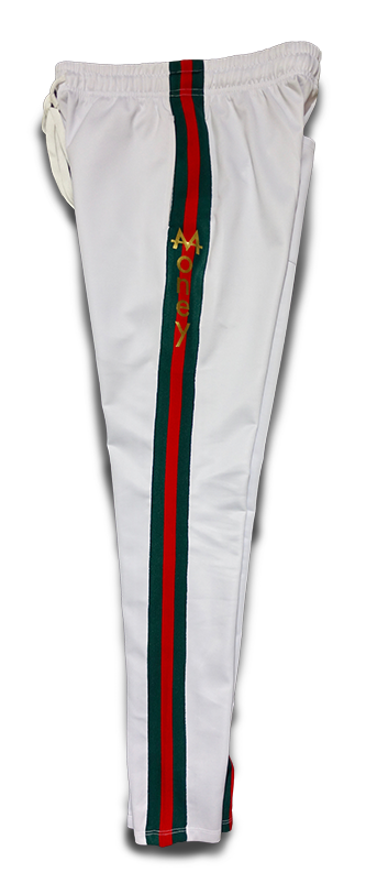Money Drawstring Pants | White | Red/Green | 24k Gold - Money by Mark, Athletic Apparel