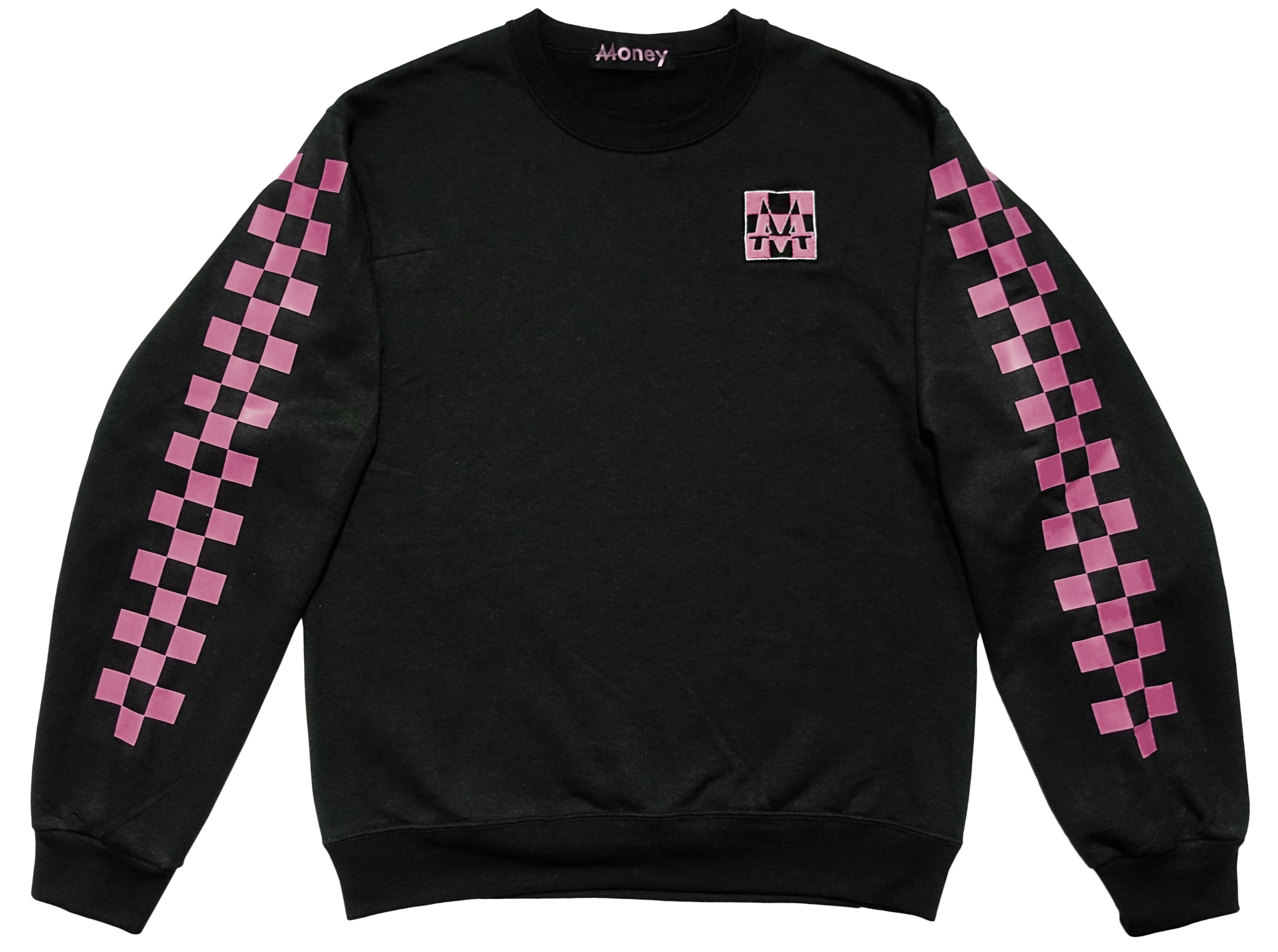 Checkerboard Crewneck | Black | Bubble Gum - Money by Mark, Sweater