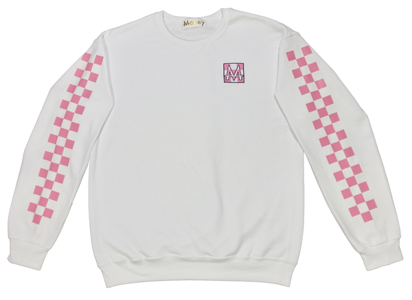 Checkerboard Crewneck | White | Bubble Gum - Money by Mark, Sweater