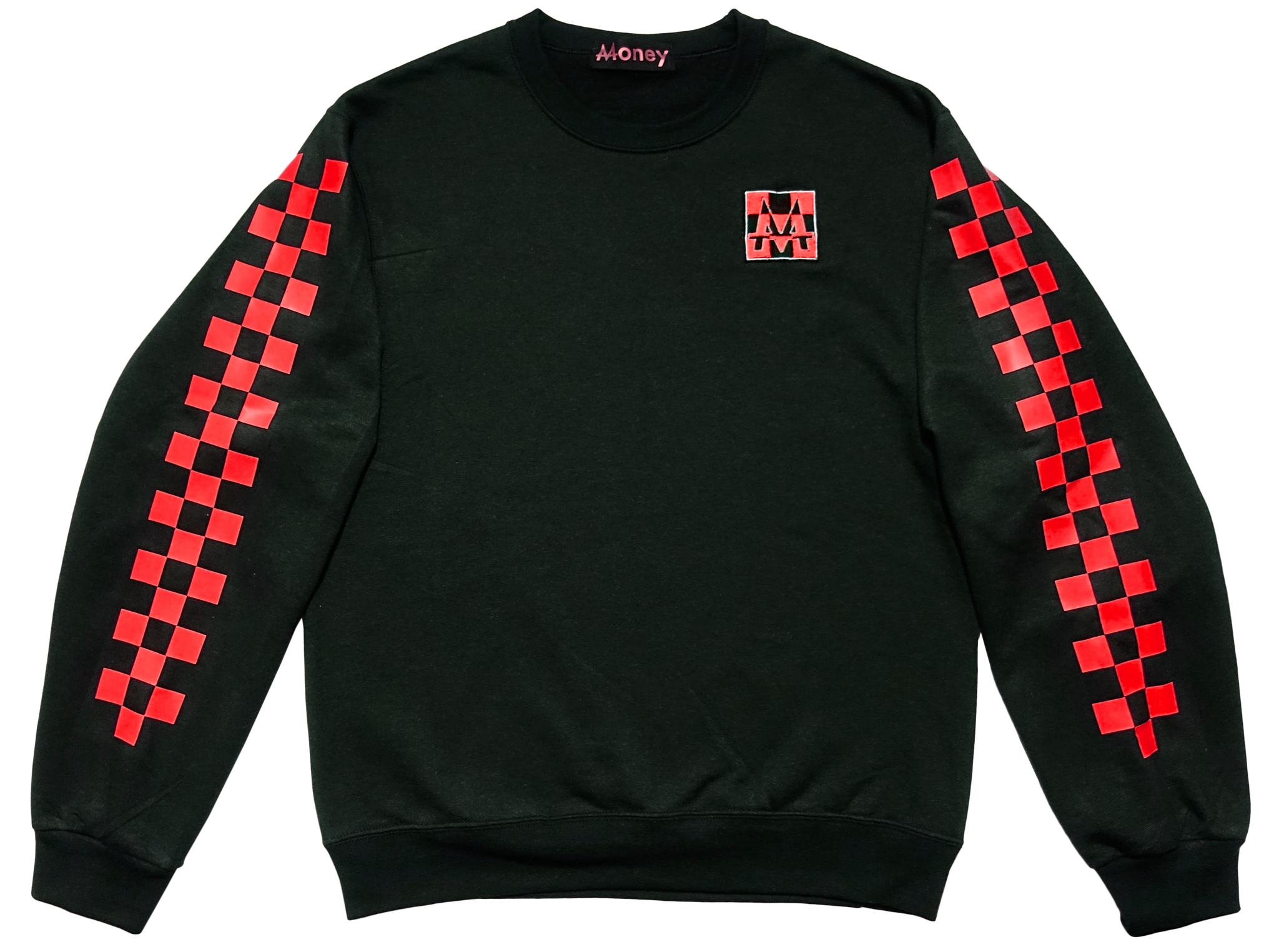 Checkerboard Crewneck | Black | Racing Red - Money by Mark, Sweater