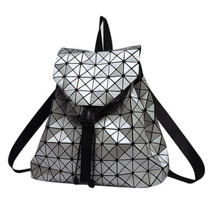 Silver Geometric Holographic Backpack