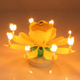 Yellow Musical Lotus Flower Rotating Happy Birthday Candle. - love myself deals
